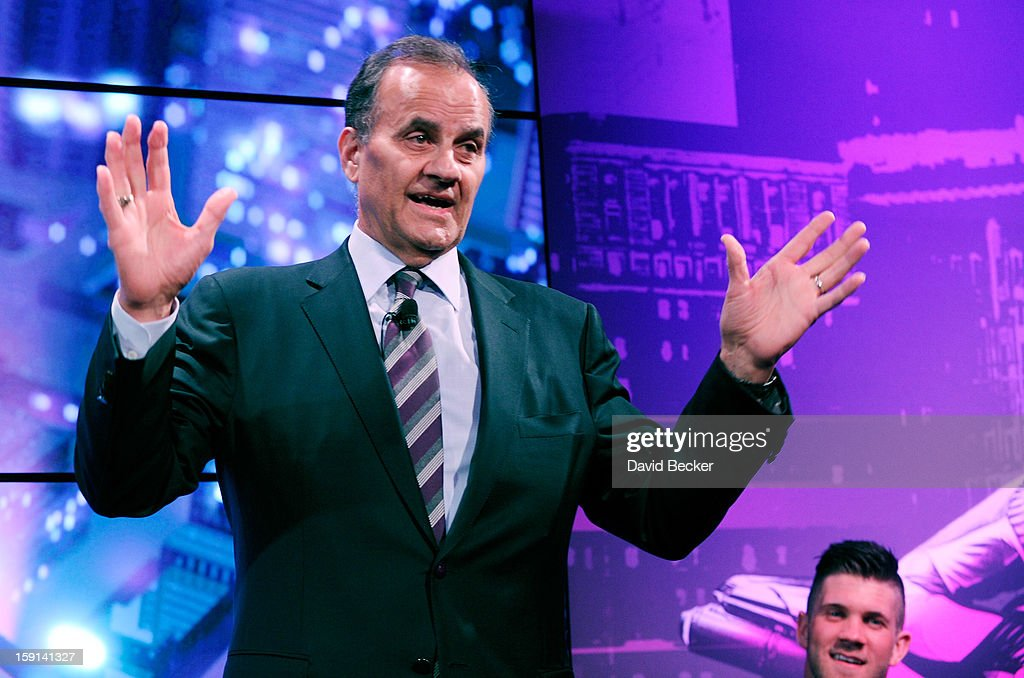Major League Baseball's Executive Vice President of Baseball Operations Joe Torre (L) speaks, while Bryce Harper of the Washington Nationals watches on at a news conference at the 2013 International CES at The Venetian on January 8, 2013 in Las Vegas, Nevada. T Mobile announced a multi-year partnership with Major League Baseball. CES, the world's largest annual consumer technology trade show, runs through January 11 and is expected to feature 3,100 exhibitors showing off their latest products and services to about 150,000 attendees.