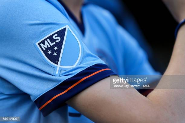 MLS Major League Soccer branding on the sleeve of a fans New York City shirt during MLS fixture between Toronto FC and New York City FC at Yankee...