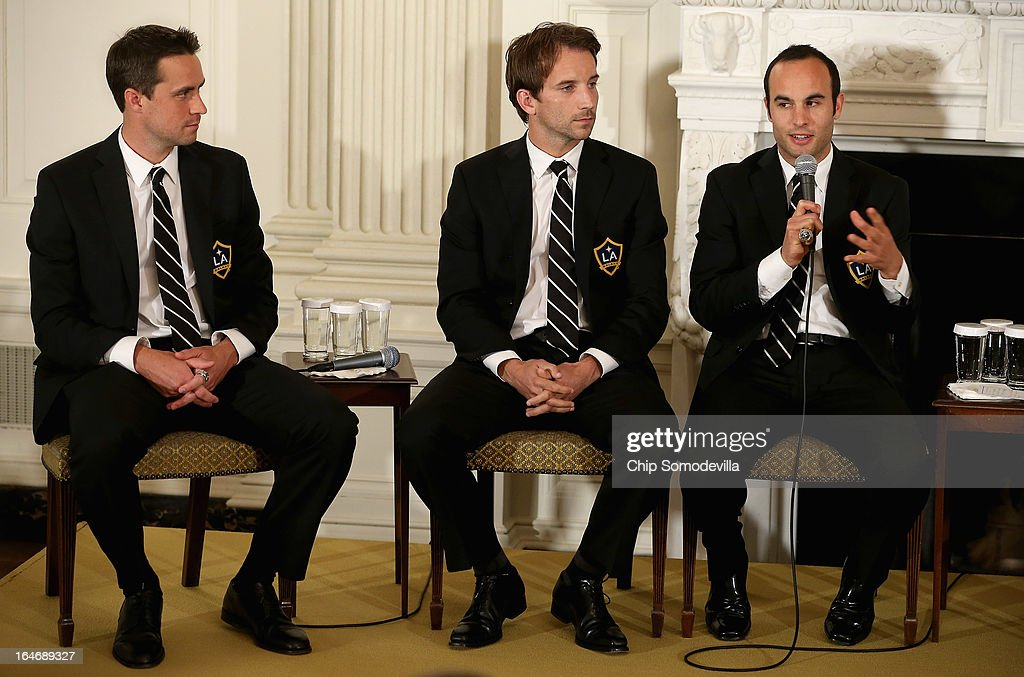 Major League Soccer champion LA Galaxy players Todd Dunivant, Mike Magee and <a gi-track='captionPersonalityLinkClicked' href=/galleries/search?phrase=Landon+Donovan&family=editorial&specificpeople=171601 ng-click='$event.stopPropagation()'>Landon Donovan</a> participate in a question-and-answer session with students in the State Dining Room of the White House March 26, 2013 in Washington, DC. Players from the Galaxy and the National Hockey League Stanley Cup winning Los Angeles Kings participated in a question-and-answer panel with students from across the country and Sam Kass, Assistant White House Chef and Executive Director of first lady Michelle Obama's health program 'Let's Move!'