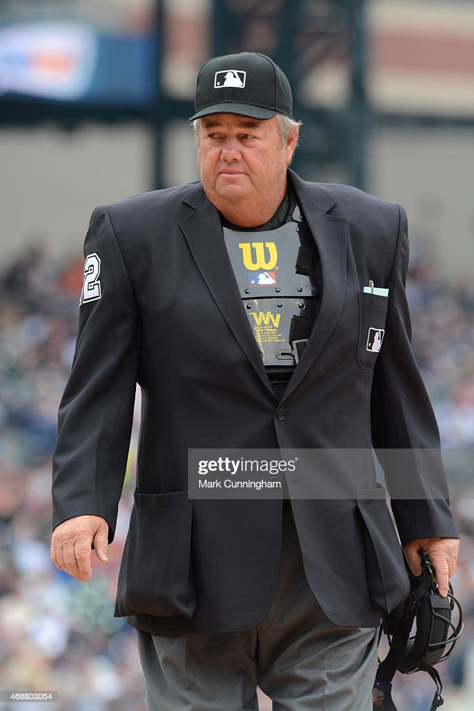 Major League umpire Joe West looks on during the Opening Day game between the Detroit Tigers and the Minnesota Twins at Comerica Park on April 6 2015...