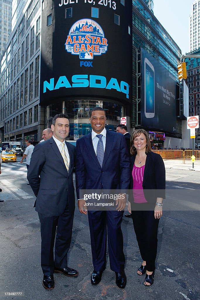 Major League VP Dan Derian, MLB All-Star Yankees Robinson Cano and Lisa Grutta from Chevrolet ring the opening bell at NASDAQ MarketSite on July 15, 2013 in New York City.