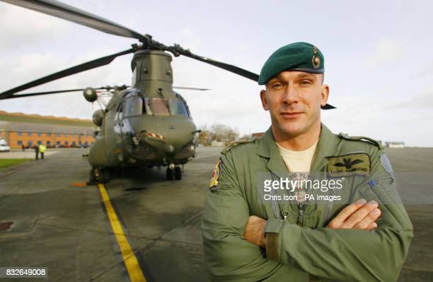 Major Mark Hammond of the Royal Marines at RAF Odiham Hampshire who has been awarded the Distinguished Flying Cross following his tour of duty flying...