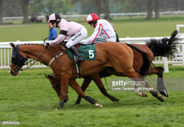 Major Miller ridden by Barry Geraghty stumbles but recovers to go on to win the stanjamescom Novices' Handicap Chase ahead of Guns and Butter ridden...