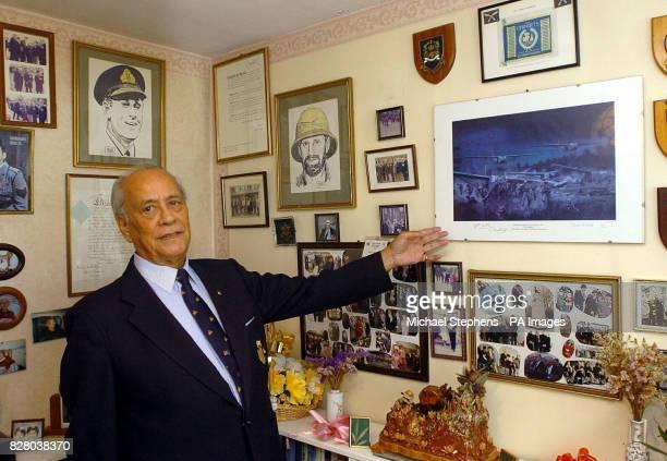 Major Neville Hogan a former Chindit soldier in Burma in his WWII museum at his home in Hemel Hempstead Hertfordshire Burmeseborn Hogan was just...