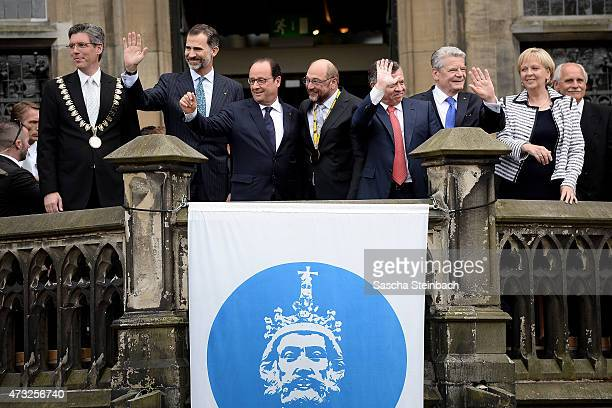 Major of Aachen Marcel Philipp King Felipe VI of Spain French President Francois Hollande European Parliament President Martin Schulz King Abdullah...