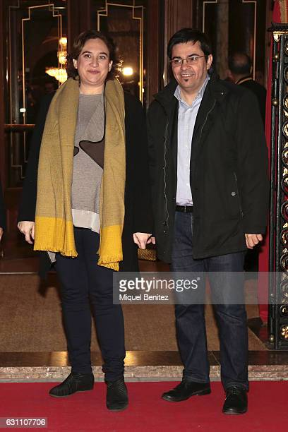 Major of Barcelona Ada Colau and Gerardo Pisarello attend the 73th Nadal Literature Awards at the Palace Hotel Barcelona on January 6 2017 in...
