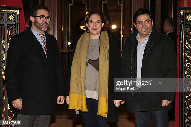 Major of Barcelona Ada Colau Gerardo Pisarello and Emili Rosales attend the 73th Nadal Liturature Awards at the Palace Hotel Barcelona on January 6...