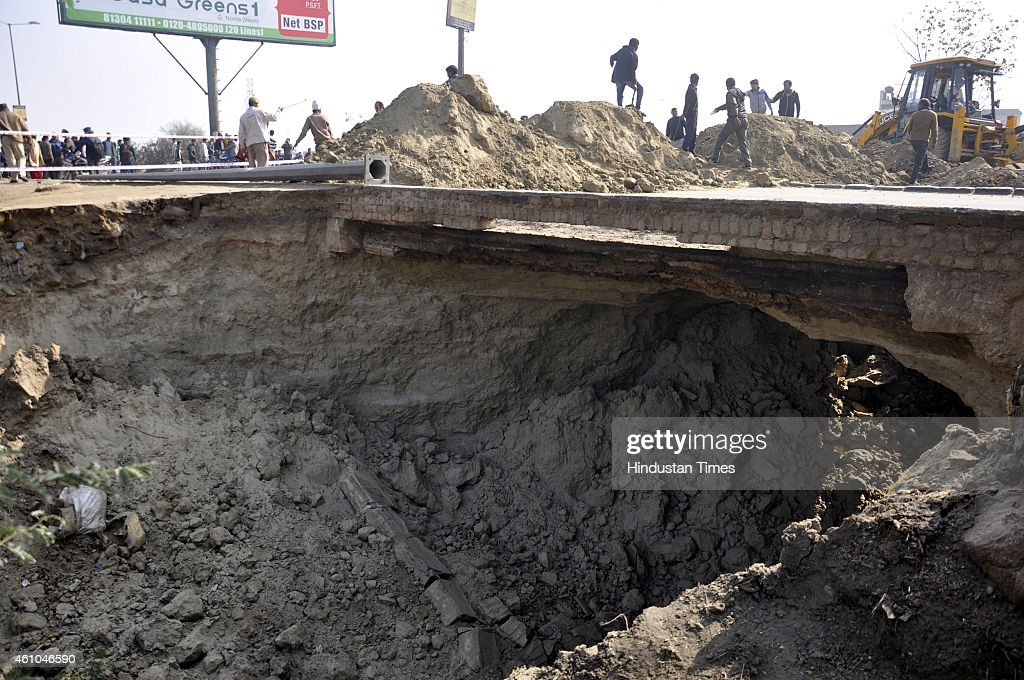 A major portion of National Highway 24 connecting Ghaziabad to Delhi road caved at Vijay Nagar byepass near the Hindon river bridge in early morning...