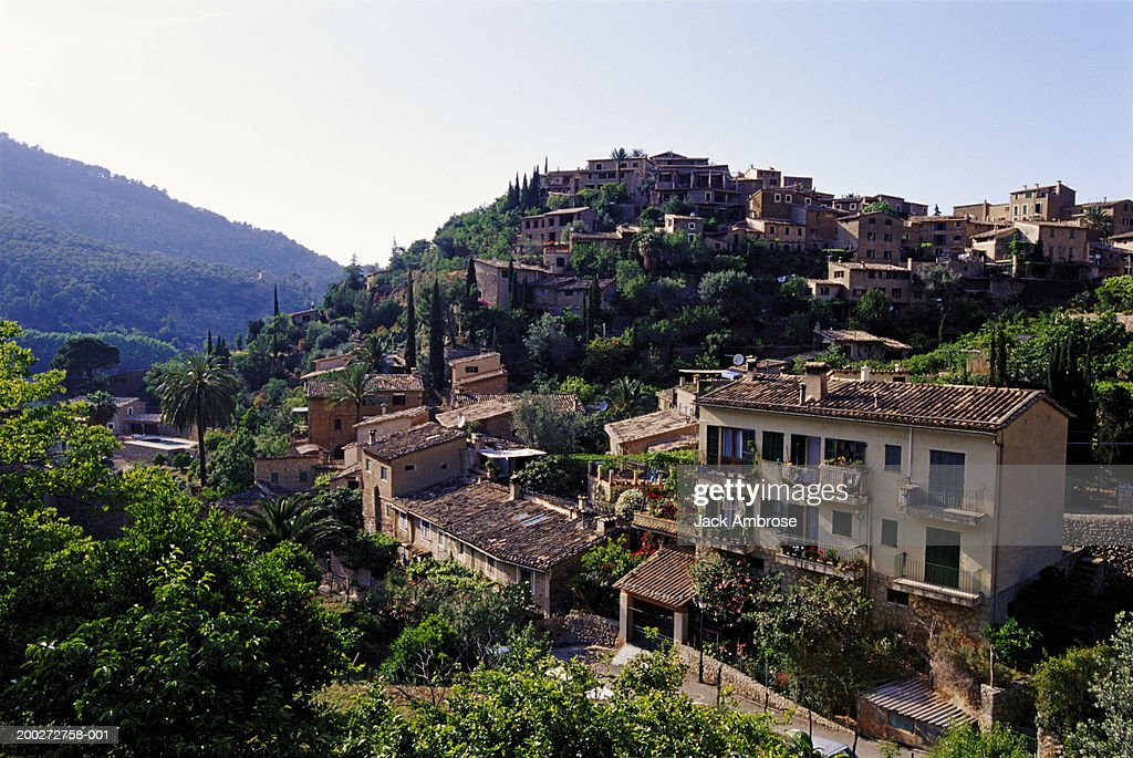 Majorca, hill top town in rural landscape : Stock Photo