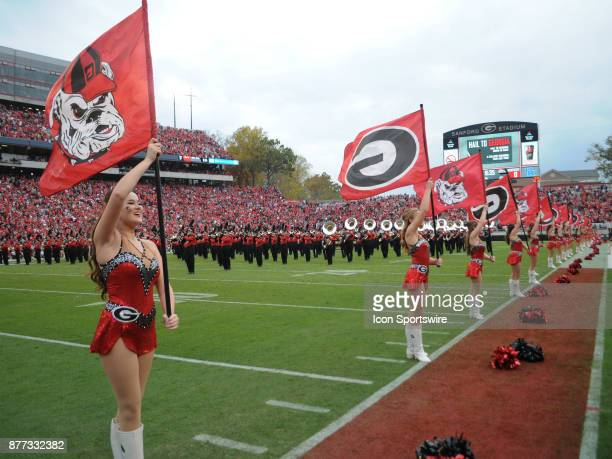 Majorettes of the University of Georgia Redcoat Marching band during pregame festivities before the game between the Kentucky Wildcats and the...