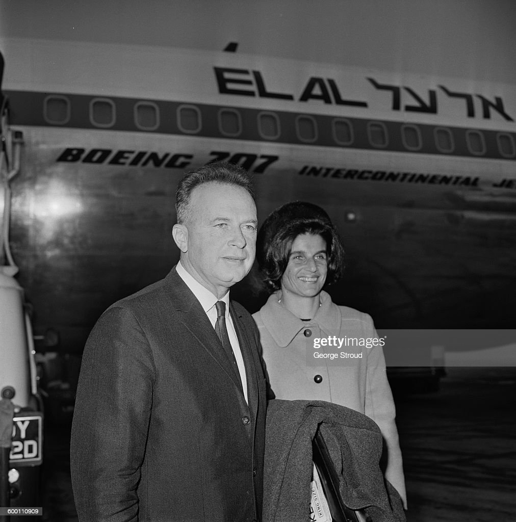 Major-General Yitzhak Rabin (1922 - 1995), chief of staff of the Israeli Defence Forces (IDF), at London Airport with his wife Leah (1928 - 2000), UK, 24th November 1967.