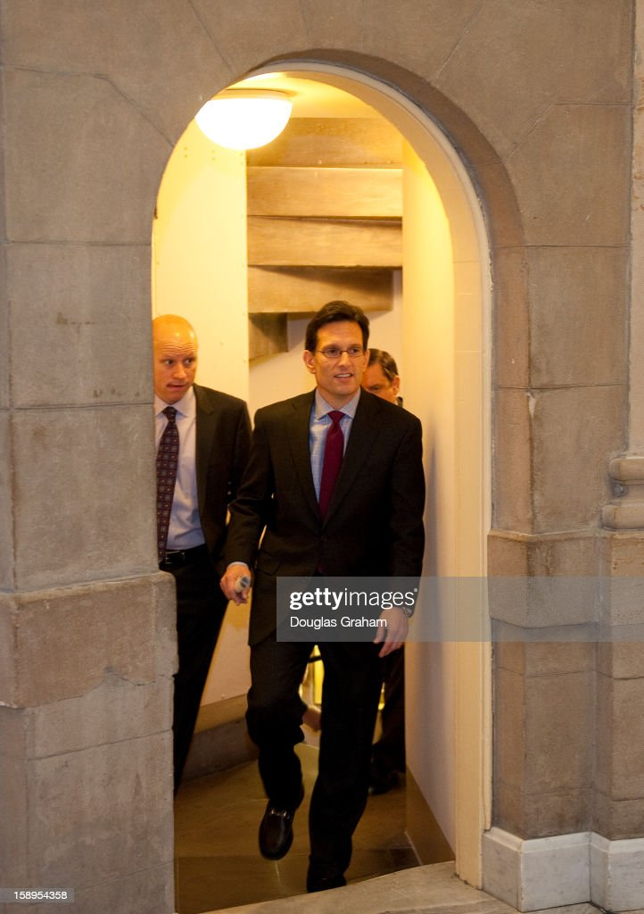 Majority Leader Eric Cantor, R-Va., leaves the GOP caucus headed for the Speakers Office in the U.S. Capitol on January 4, 2013.