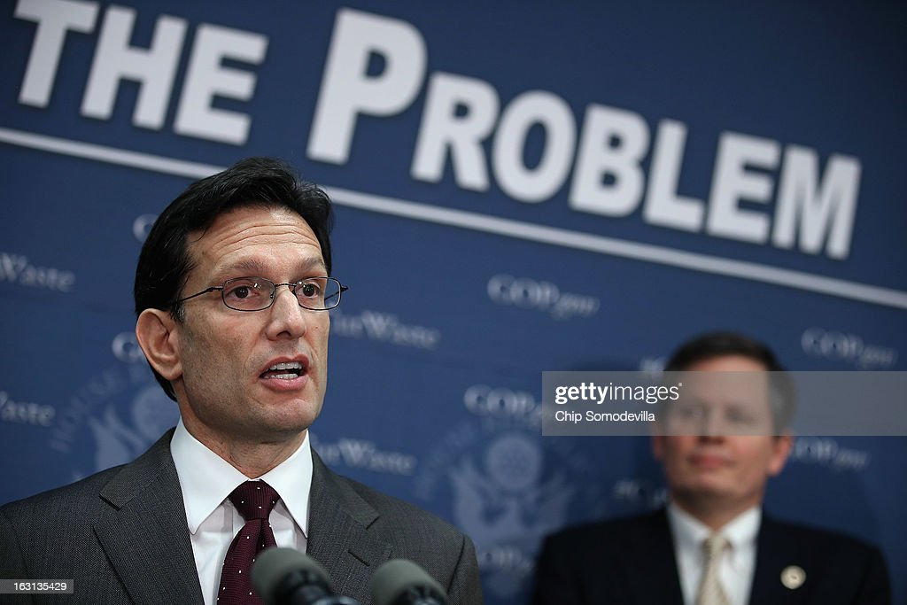 Majority Leader <a gi-track='captionPersonalityLinkClicked' href=/galleries/search?phrase=Eric+Cantor&family=editorial&specificpeople=653711 ng-click='$event.stopPropagation()'>Eric Cantor</a> (R-VA) (L) speaks during a news conference following the weekly House Republican caucus meeting with Rep. Steve Daines (R-MT) at the U.S. Capitol March 5, 2013 in Washington, DC. With the budget sequester now in effect, Speaker of the House John Boehner (R-OH) and his party in the House are now focusing on fighting against new taxes and rolling back the federal budget.