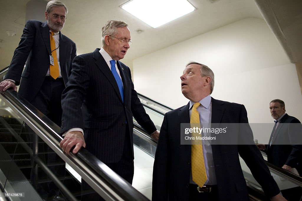 Majority Leader Harry Reid, D-Nev.; and Sen. Dick Durbin, D-Ill., arrive for an all-Senators briefing on the ongoing investigation in the Boston Marathon bombings.