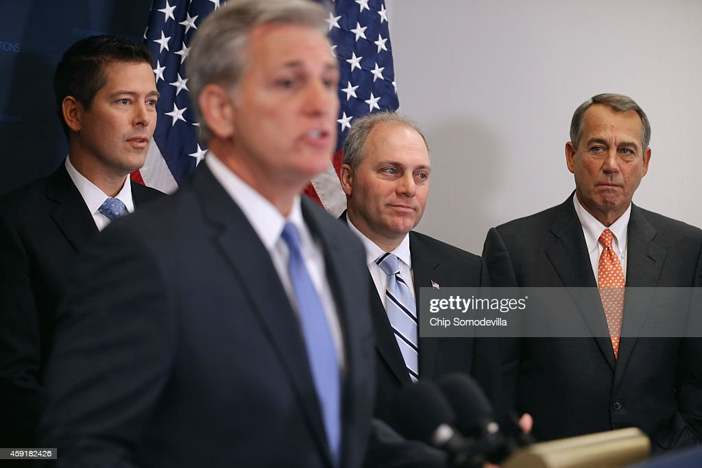 Majority Leader <a gi-track='captionPersonalityLinkClicked' href=/galleries/search?phrase=Kevin+McCarthy+-+U.S.+Congressman&family=editorial&specificpeople=6726000 ng-click='$event.stopPropagation()'>Kevin McCarthy</a> (R-CA) (2nd L) holds a news conference with (L-R) Rep. Sean Duffy (R-WI), House Majority Whip <a gi-track='captionPersonalityLinkClicked' href=/galleries/search?phrase=Steve+Scalise&family=editorial&specificpeople=5482687 ng-click='$event.stopPropagation()'>Steve Scalise</a> (R-LA) and Speaker of the House <a gi-track='captionPersonalityLinkClicked' href=/galleries/search?phrase=John+Boehner&family=editorial&specificpeople=274752 ng-click='$event.stopPropagation()'>John Boehner</a> (R-OH) after the weekly House Republican caucus meeting at the U.S. Capitol November 18, 2014 in Washington, DC. Boehner said that if U.S. President Barack Obama was to veto legislation authorizing the Keystone XL pipeline then he would be calling the American people 'stupid.'
