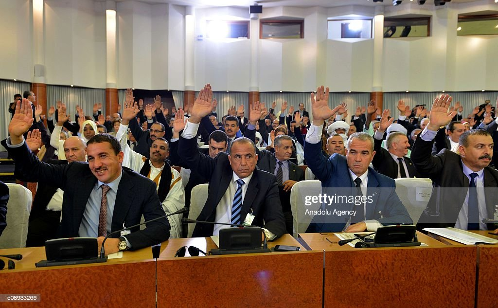 Majority of the Algerian Parliament approves constitutional changes that proposed by president Abdelaziz Bouteflika during a session, in Algiers, Algeria on February 7, 2016.