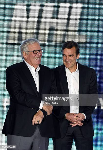 Majority owner Bill Foley and general manager George McPhee talk before the Vegas Golden Knights was announced as the name for Foley's Las Vegas NHL...