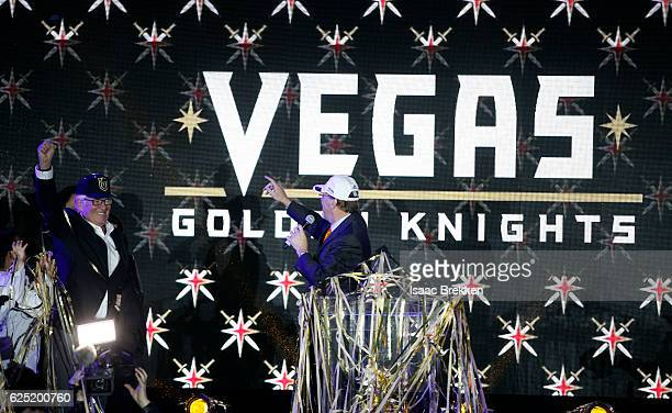 Majority owner Bill Foley reacts as the new logo and name for the Vegas Golden Knights are unveiled in Toshiba Plaza at TMobile Arena November 22...