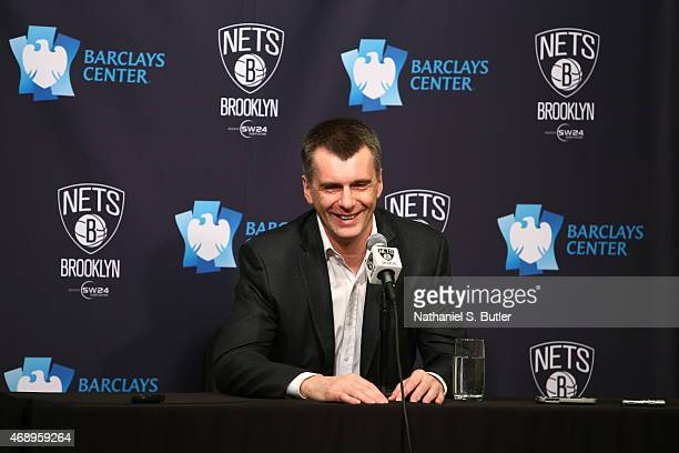 Majority Owner Mikhail Prokhorov of the Brooklyn Nets addresses the media during a press conference prior to a game between the Atlanta Hawks and the...