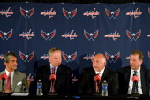 Majority Owner Ted Leonsis General Manager Brian MacLellan Coach Barry Trotz and President Dick Patrick all of the of the Washington Capitals speak...