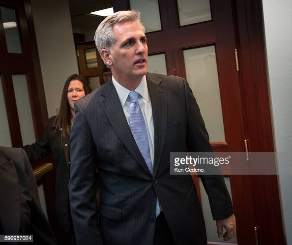 Majority Whip Kevin McCarthy exits to a House Republican Caucus meeting Jan 1 2013 in Washington DC where members planned the legislation that is...