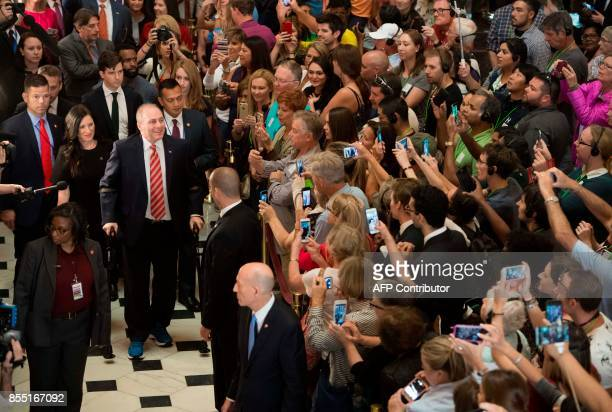 US Majority Whip Representative Steve Scalise Republican of Louisiana walks through Statuary Hall at the US Capitol in Washington DC September 28 as...
