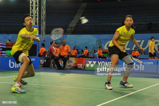 Mak Pak Ngai and Yau Mau Ying of Hong Kong compete against Robert Cybulski and Wiktoria Dabczynska of Poland during Mixed Double qualification round...