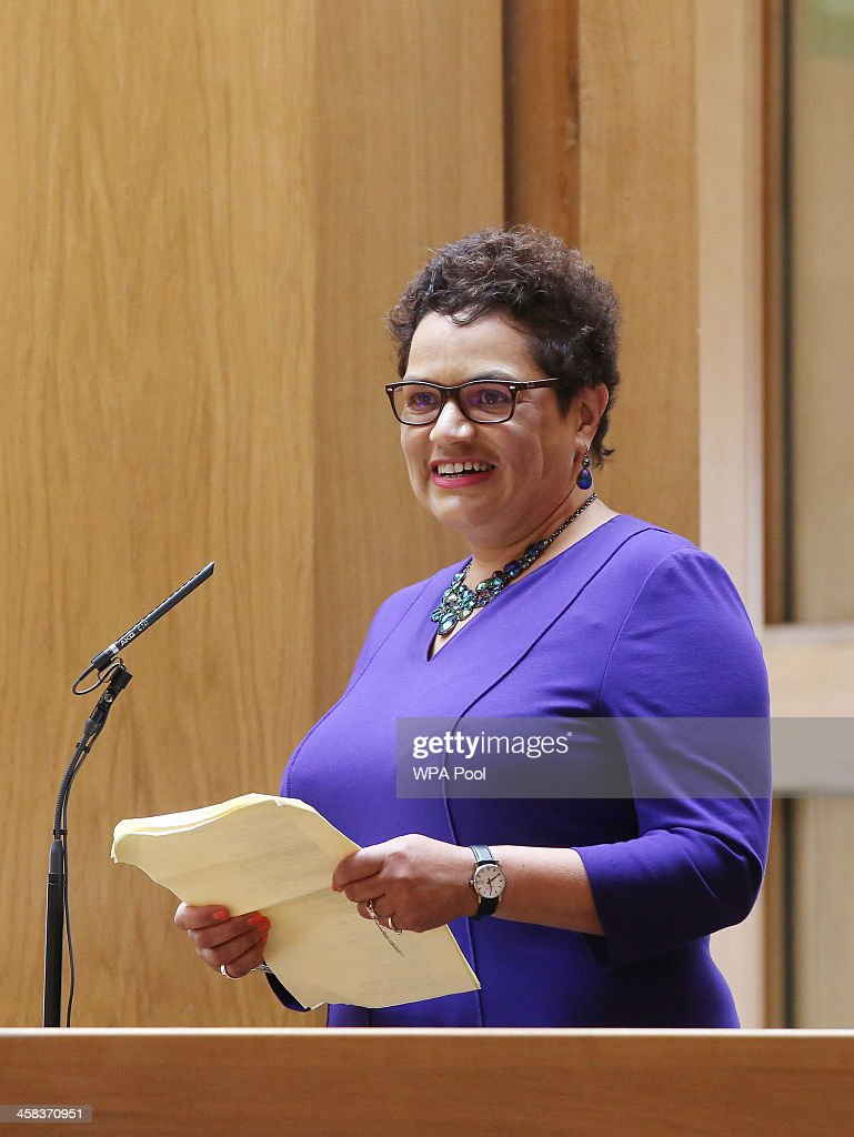 Makar (Scottish poet laureate) Jackie Kay reads a poem during the opening of the fifth session of the Scottish Parliament on July 2, 2016 in Edinburgh, United Kingdom.