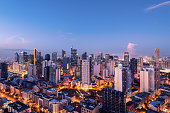 Elevated, night view of Makati, the business district of Metro Manila.