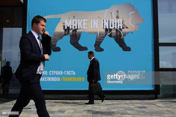 A 'Make in India' banner sits on display during the St Petersburg International Economic Forum at the Expoforum in Saint Petersburg Russia on...