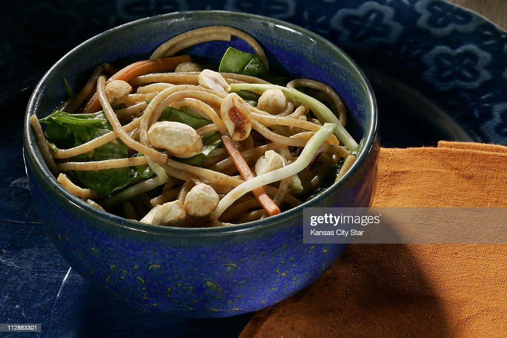 Make Mondays meatless with whole-wheat noodle salad with peanut sauce.