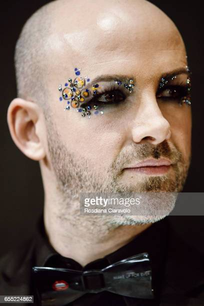 Make up artist beauty detail is seen at LA TRUCCHERIA MAKE UP FOR EVER stand during the 50th Cosmoprof on March 18 2017 in Bologna Italy