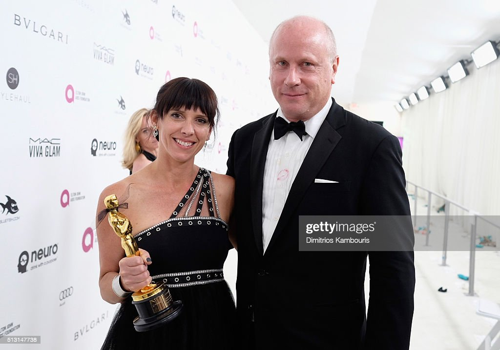 Make up artist Elka Wardega and EJAF Executive Director Scott Campbell attend the 24th Annual Elton John AIDS Foundation's Oscar Viewing Party at The City of West Hollywood Park on February 28, 2016 in West Hollywood, California.