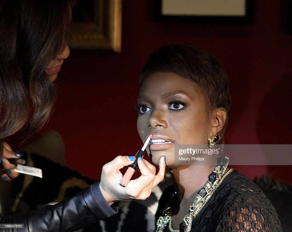 Make up artist Naima J. and model Tai Beauchamp during Behind The Beauty Documentary - Day 1 at The Redbury Hotel on December 18, 2012 in Hollywood, California.