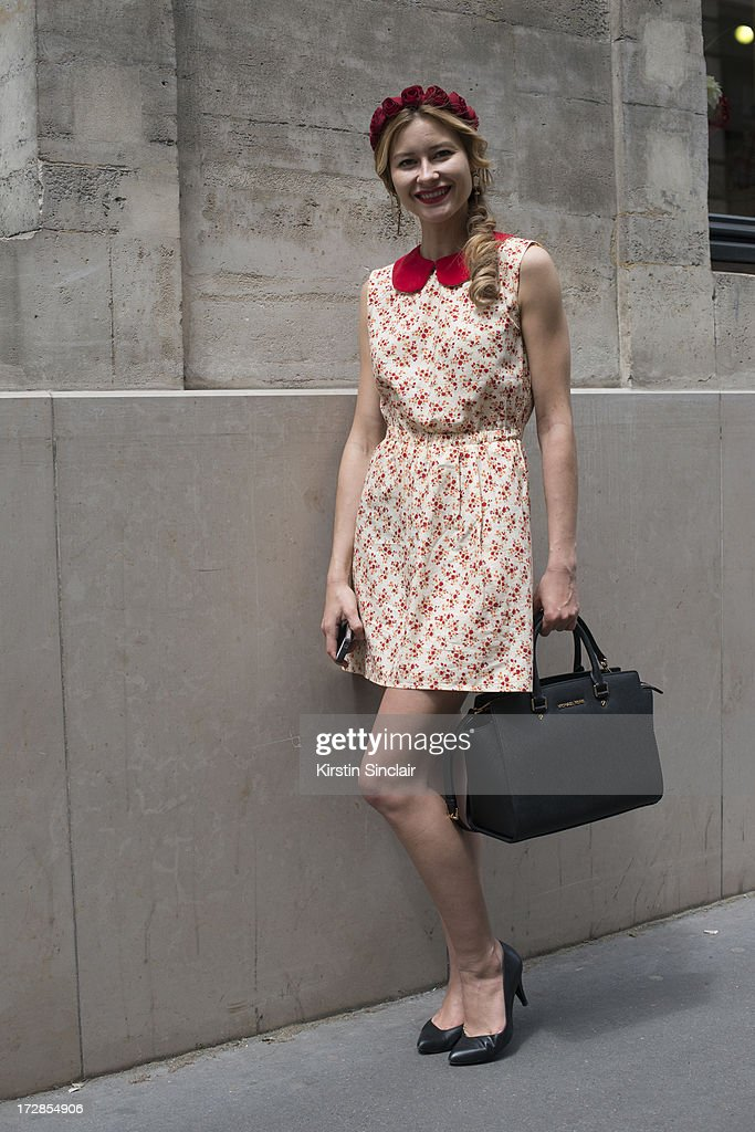Make up artist Renata Khafizova wears her own design dress and head piece, Michael Kors bag and Andrea shoes on day 2 of Paris Collections: Womens Haute Couture on July 02, 2013 in Paris, France.