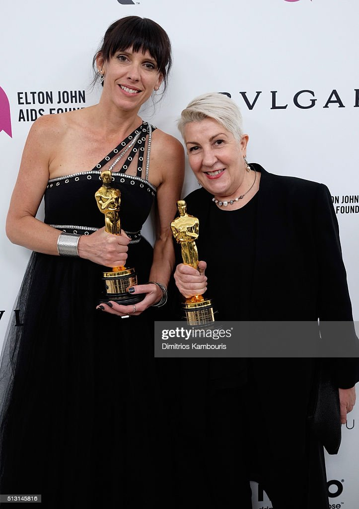 Make up artists Elka Wardega and Lesley Vanderwalt attends the 24th Annual Elton John AIDS Foundation's Oscar Viewing Party at The City of West Hollywood Park on February 28, 2016 in West Hollywood, California.