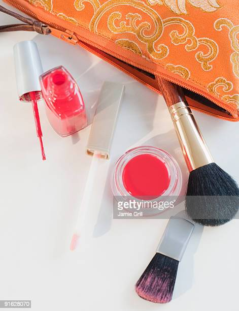 A make up bag with assorted make up