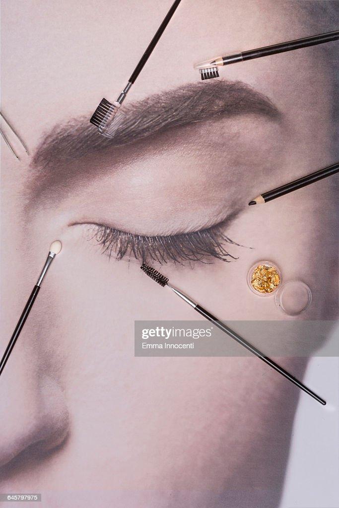 Make up, brushes, beauty, eyes closed