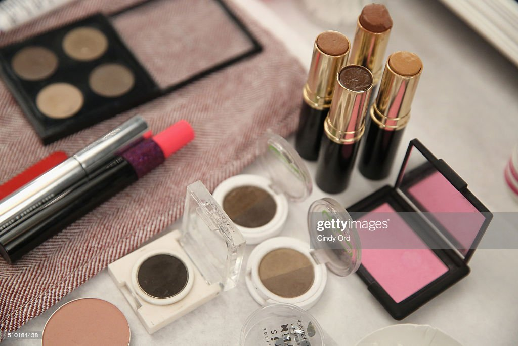 Make up stations backstage at the Tome Fall 2016 fashion show during New York Fashion Week: The Shows at The Dock, Skylight at Moynihan Station on February 14, 2016 in New York City.