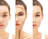 Make up woman face. Contour and highlight makeup.