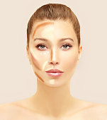 Make up woman face. Contour and highlight makeup..