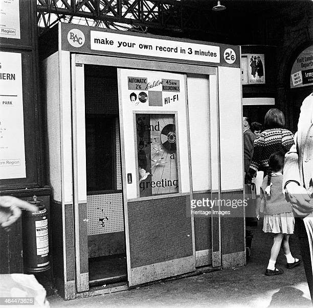 'Make your own record in 3 minutes' London c1966c1967 A record machine sited on a station concourse offering people the opportunity of recording...