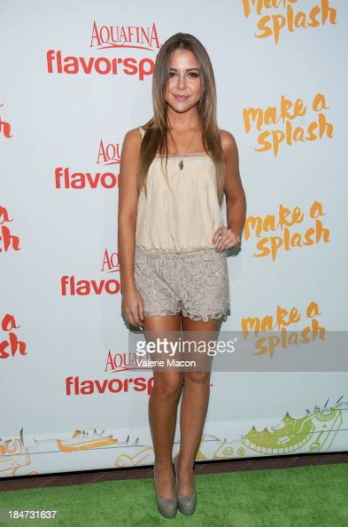 Makenzie Vega arrives at Aquafina FlavorSplash Launch Party With Austin Mahone Nick Cannon at Sony Pictures Studios on October 15 2013 in Culver City...