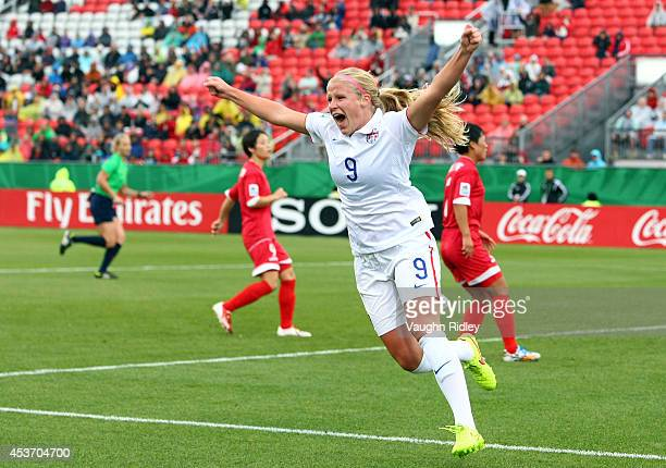 Makenzy Doniak of the United States celebrates after scoring the opening goal during the FIFA U20 Women's World Cup Canada 2014 Quarter Final match...