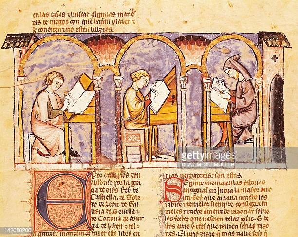 Maker of games' boards miniature from The Book of Games by Alfonso X the Wise from Castilia Spain