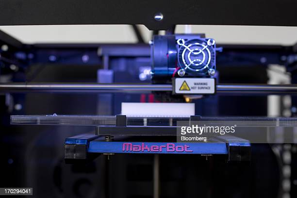 A Makerbot Industries LLC Replicator 2 Desktop 3D Printer is seen at the company's new factory in the Brooklyn borough of New York US on Thursday...