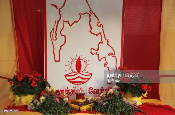 Makeshift memorial during Tamil Genocide Remembrance Day on May 18 2017 in Scarborough Ontario Canada Tamils gathered to remember the victims of the...
