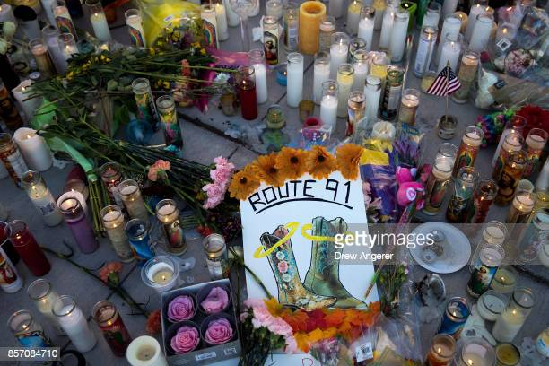 A makeshift memorial for the victims of Sunday night's mass shooting stands at an intersection on the north end of the Las Vegas Strip October 3 2017...