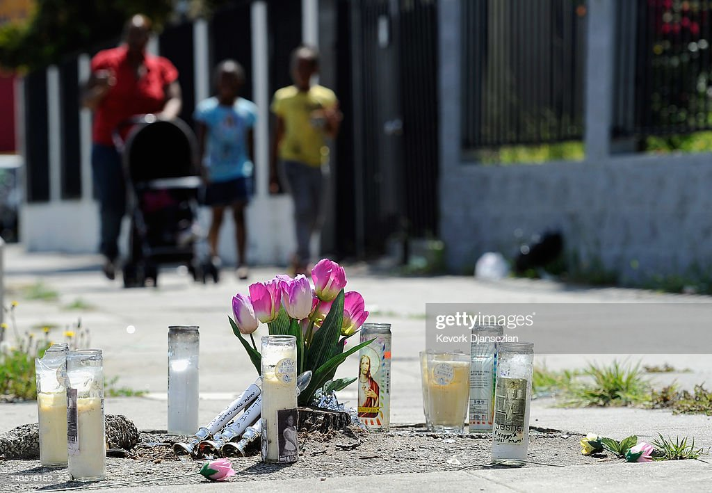 A makeshift memorial is set up on a sidewalk where a traffic accident killed three women two months ago in South Los Angeles on April 29, 2012 in Los Angeles, California. It's been 20 years since the verdict was handed down in the Rodney King case that sparked the infamous Los Angeles riots.