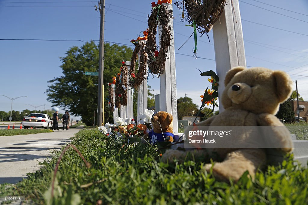 A makeshift memorial sits near the Sikh Temple of Wisconsin August, 7, 2012 Oak Creek Wisconsin. A suspected gunman, 40-year-old Wade Michael Page, allegedly killed six people at the temple August 5, was shot to death by police at the scene. He was an army veteran and reportedly a former leader of a white supremacist heavy metal band. Three others were critically wounded in the attack.